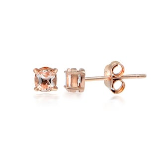 Glitzy Rocks 18k Rose Gold over Silver Morganite Round Stud Earrings