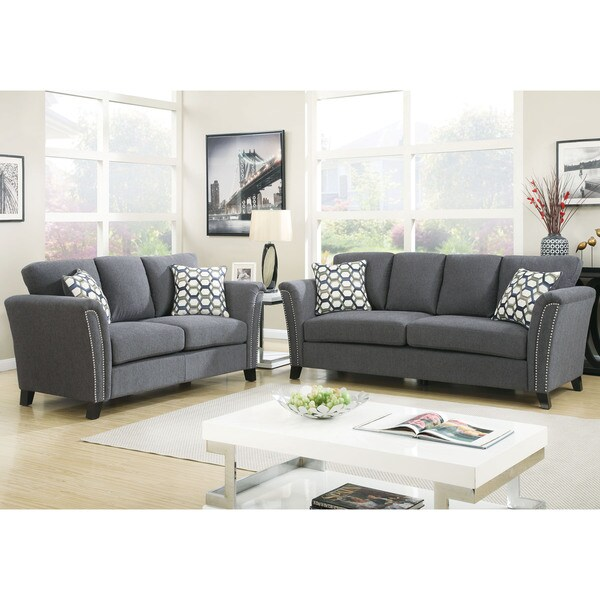 Furniture of america vellaire contemporary 2 piece sofa for 2 piece furniture set