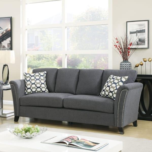 Contemporary Grey Italian Leather Sofa Set with Adjustable Headrest