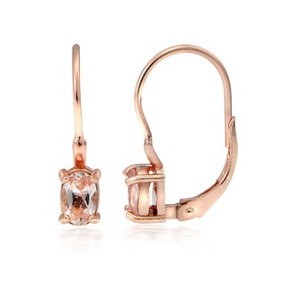 Glitzy Rocks 18k Rose Gold over Silver Morganite Oval Leverback Earrings