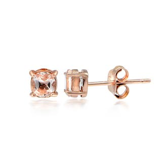 Glitzy Rocks 18k Rose Gold Over Silver Morganite Round Stud Earrings