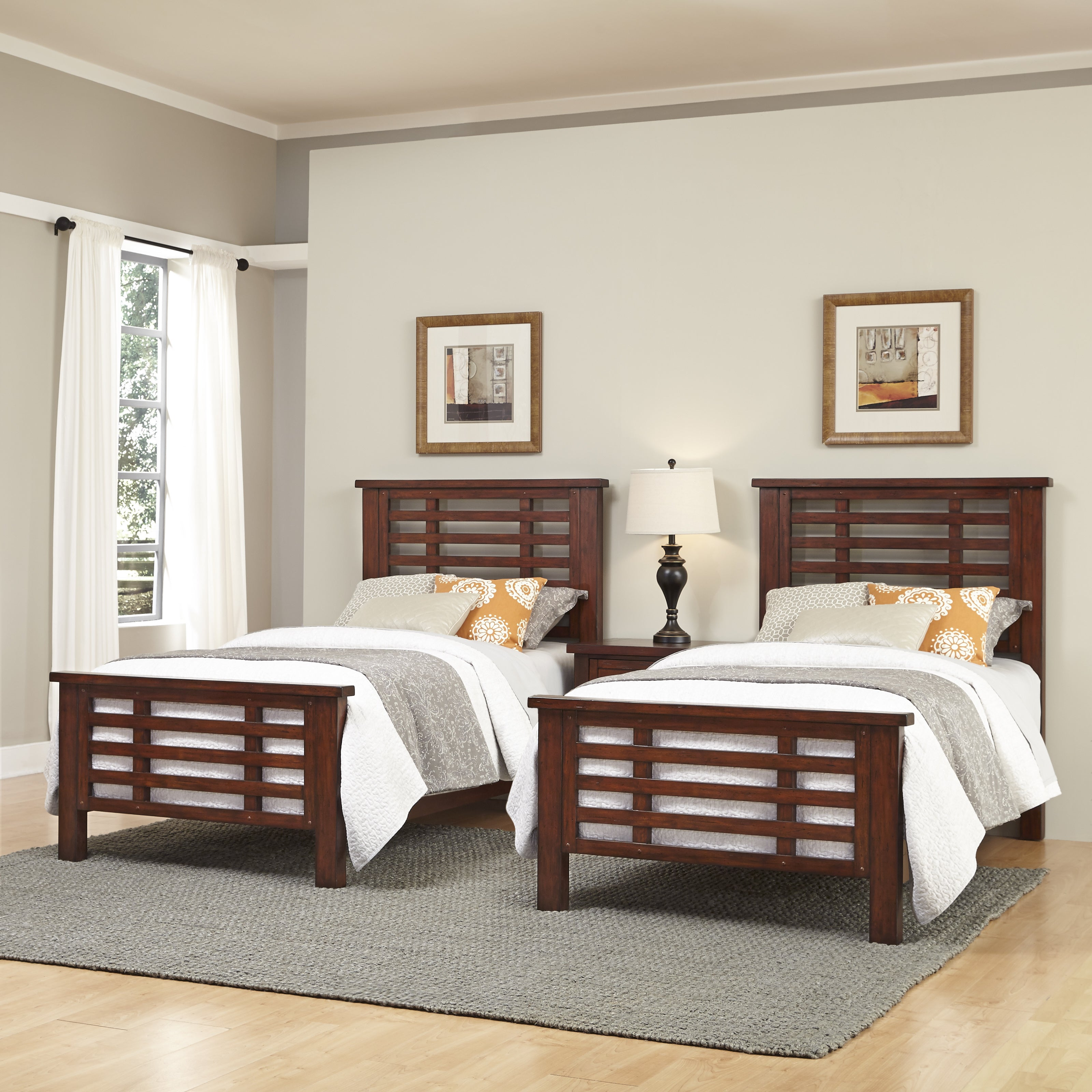 Cabin Creek Two Twin Beds And Night Stand By Home Styles Overstock 10539098