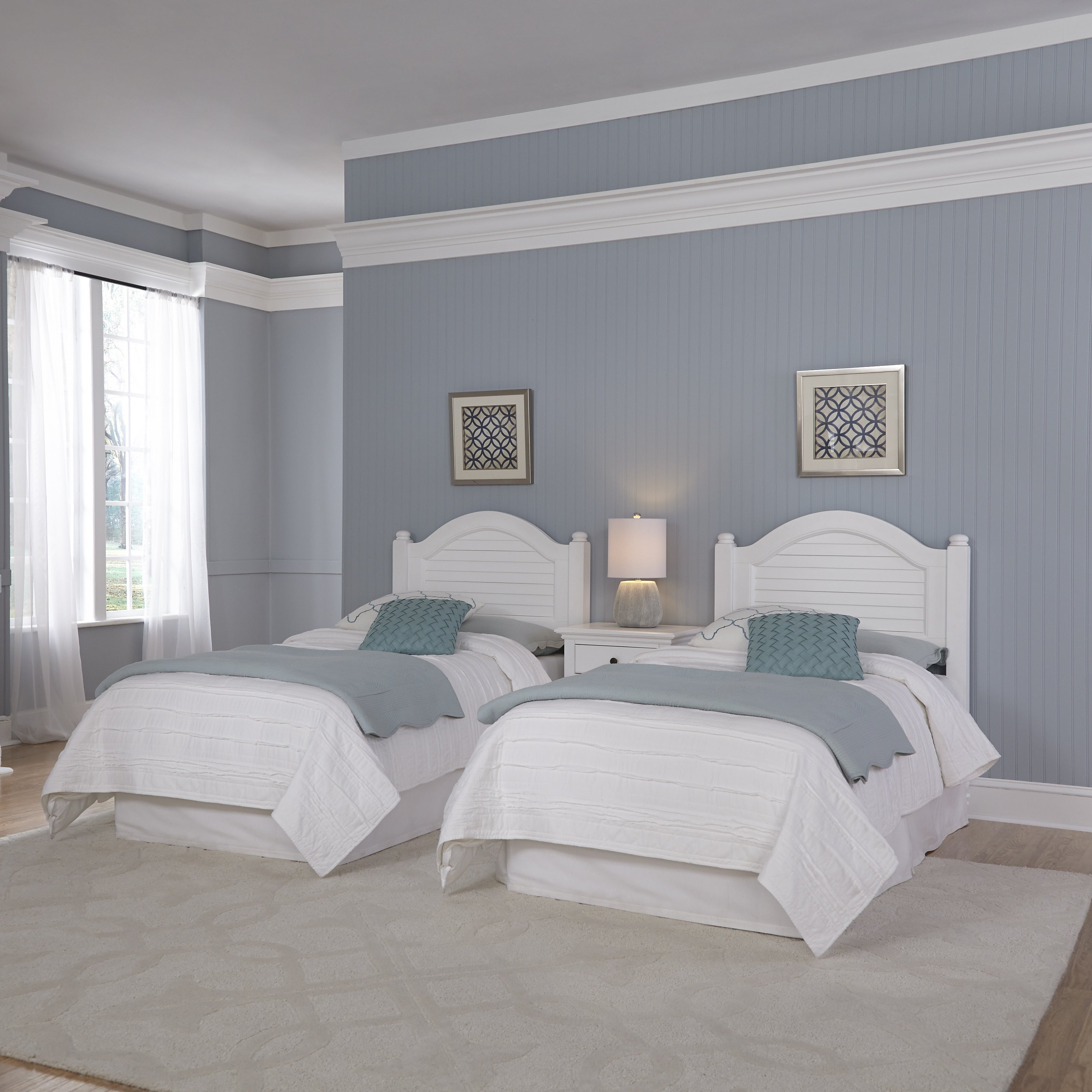 Image of: Shop Black Friday Deals On Bermuda Two Twin Headboards And Night Stand By Home Styles On Sale Overstock 10539122 Brushed White