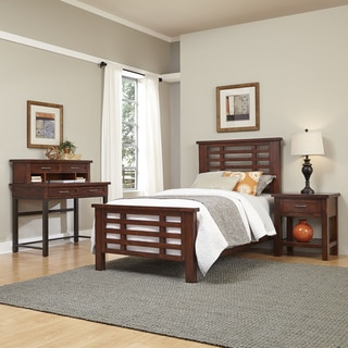 Home Styles Cabin Creek Twin Bed, Night Stand, and Student Desk with Hutch