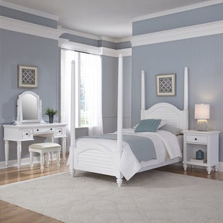 Bermuda Twin Poster Bed, Night Stand, and Vanity with Bench by Home Styles