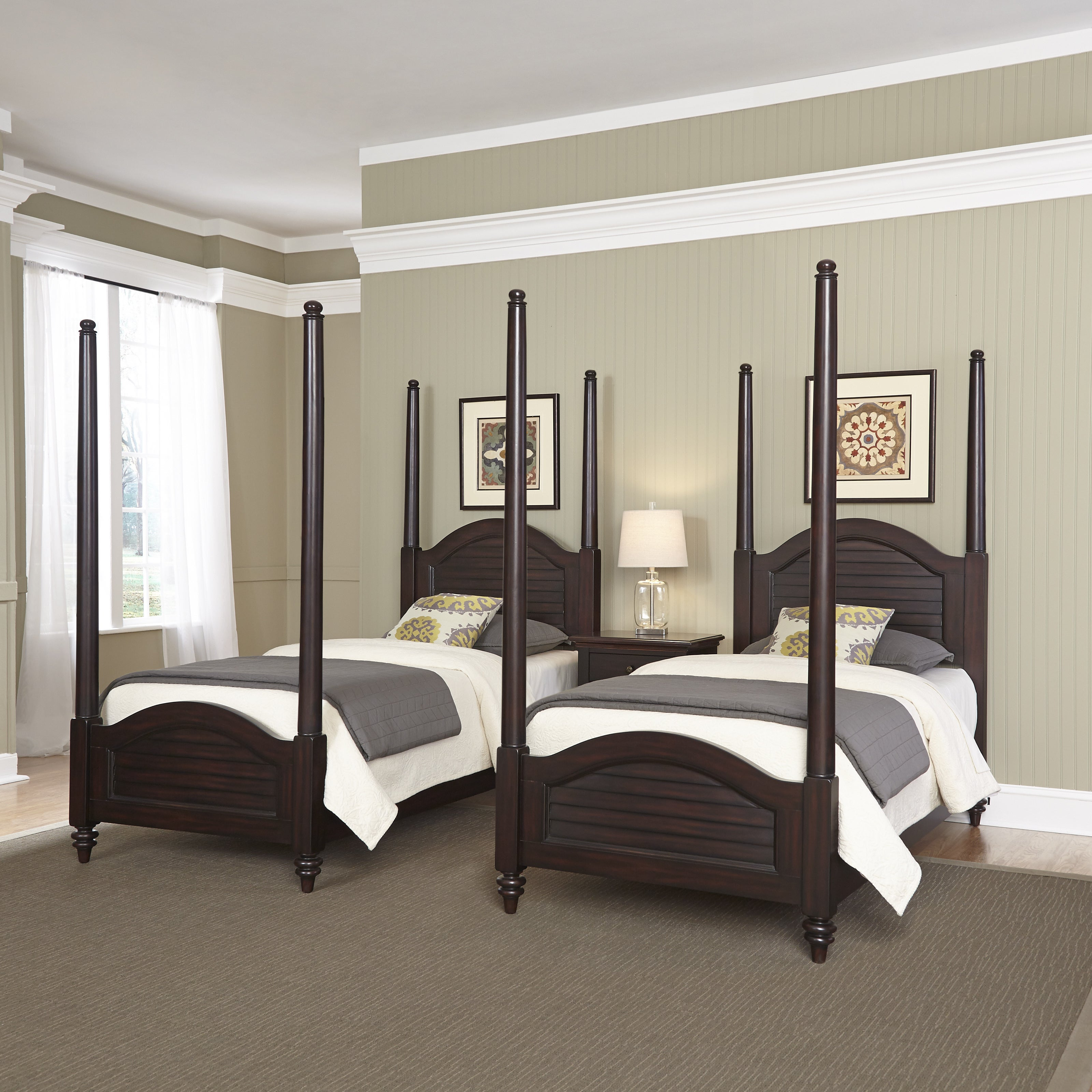 Bermuda Two Twin Poster Beds and Night Stand by Home Styl...