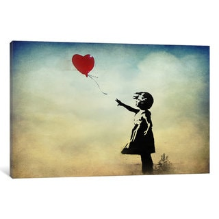 iCanvas Banksy Girl with a Balloon Watercolor Canvas Wall Art