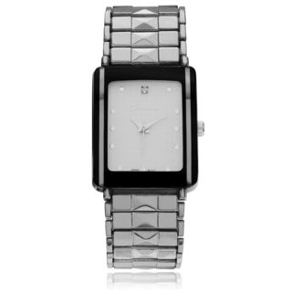 Geneva Platinum Men's Rhinestone Accent Pyramid Stud Link Watch