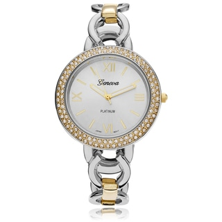 Geneva Platinum Women's Rhinestone Accent Circle Link Watch