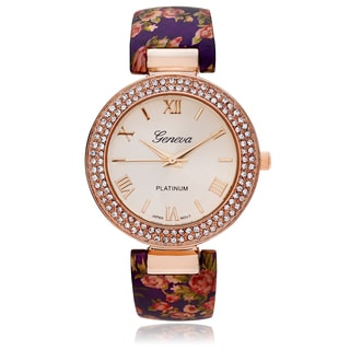 Geneva Platinum Women's Rhinestone Accent Floral Print Cuff Watch