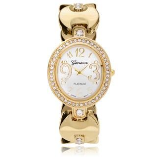 Geneva Platinum Women's Rhinestone Adjustable Cuff Watch