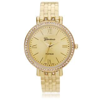 Geneva Platinum Women's Rhinestone Accent Hinged Cuff Watch - Gold