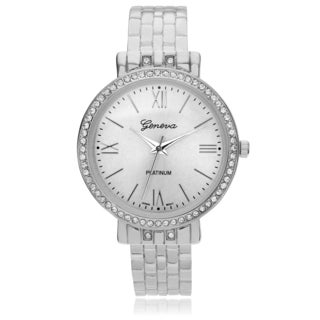 Geneva Platinum Women's Rhinestone Accent Hinged Cuff Watch