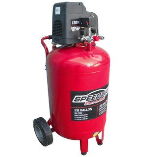 Speedway 28 Gal Oil Free 2HP Vertical Compressor with dual line quick connect manifold and heavy duty wheels.