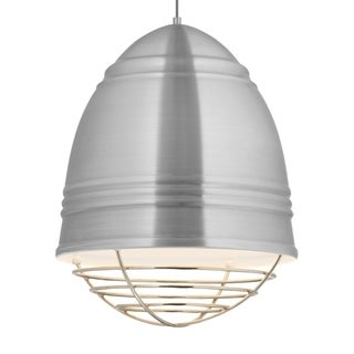 LBL Loft Grande 3 light Brushed Aluminum Exterior with White Interior with Polished Nickel Cage LED Pendant