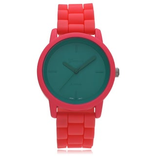 Geneva Platinum Round Neon Multicolor Face Silicone Strap Watch