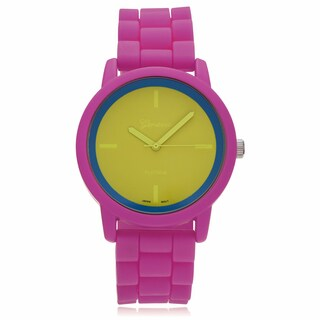 Geneva Platinum Round Neon Multicolor Face Silicone Strap Watch - Yellow