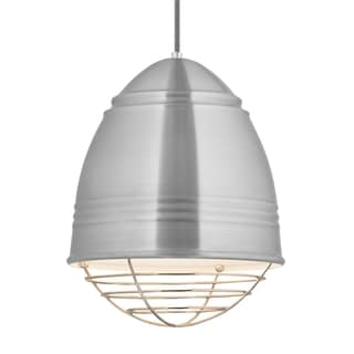 LBL Loft 1 light Brushed Aluminum Exterior with White Interior with Polished Nickel Cage LED Pendant