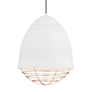 LBL Loft 1 light Rubberized White Exterior with White Interior with Copper Cage LED Pendant