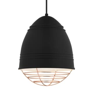 LBL Loft 1 light Rubberized Black Exterior with White Interior with Copper Cage LED Pendant