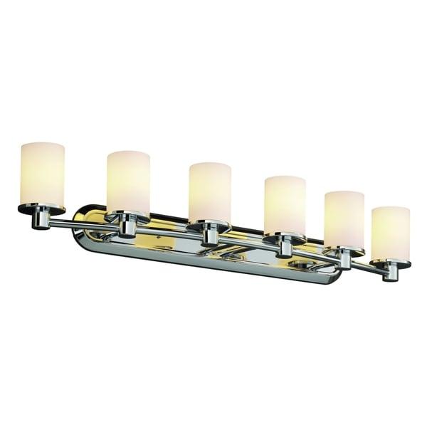 Justice Design Group Fusion Rondo 6-light Polished Chrome Bath Bar, Opal Cylinder - Flat Rim Shade