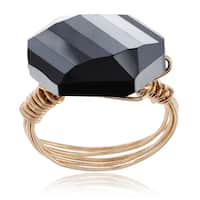 Journee Collection Goldtone Wire-wrapped Faceted Glass Ring