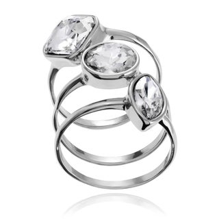 Journee Collection Metal Glass Stone Stackable Ring