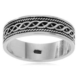 Journee Collection Men's Bali Design Ring Band (6.5mm)