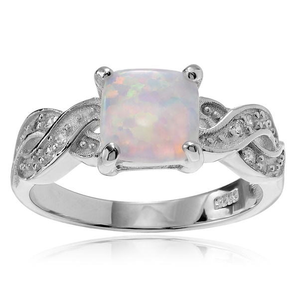 Journee Collection Sterling Silver Cubic Zirconia Accent Opal Ring
