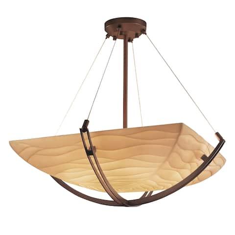 Justice Design Porcelina Crossbar 6-light Dark Bronze Square Bowl Pendant, Waves Shade