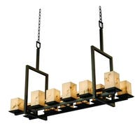 Justice Design Group LumenAria Montana 12-up and 5-downlight Dark Bronze Chandelier, Tall Faux Alabaster Square Shade
