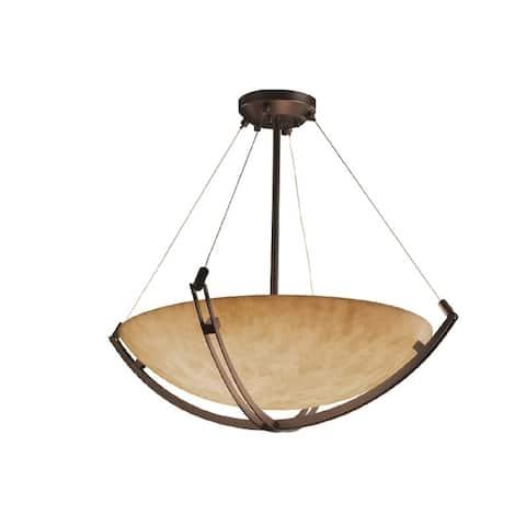 Justice Design Clouds Crossbar 42-inch Dark Bronze Round Bowl Pendant