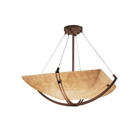 Justice Design Clouds Crossbar 55-inch Dark Bronze Square Bowl Pendant