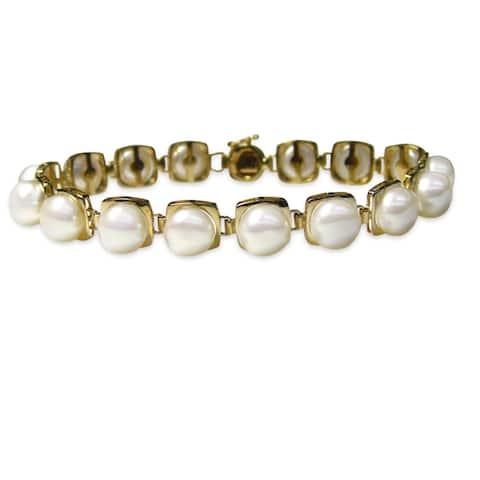 Kabella 14k White Gold Freshwater Pearl Bracelet (7-8 mm)