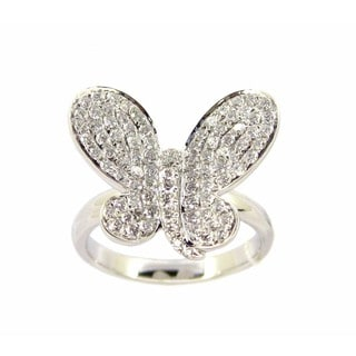 Kabella 18k White Gold Butterfly 1ct TDW Diamond Cluster Ring