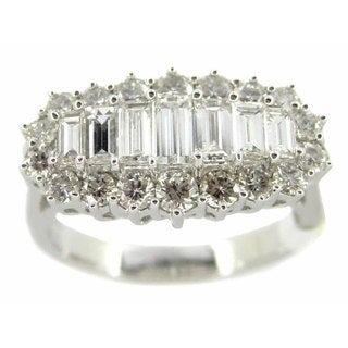 Kabella 18k White Gold 1 1/2ct TDW Baguette Diamond Ring (G-H, SI1-SI2)