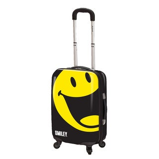 Smiley World Happy Black 26-inch Expandable Hardside Spinner Upright Suitcase