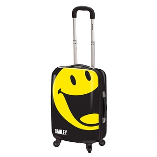 Smiley World Happy 22-inch Carry-on Expandable Hardside Spinner Suitcase