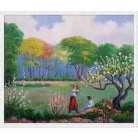 Paul-Elie Ranson 'Picking Flowers' Hand Painted Framed Canvas Art