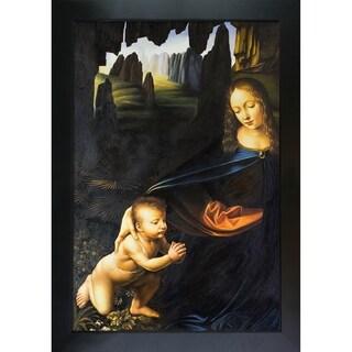 Leonardo Da Vinci 'Virgin of the Rocks' (Louvre detail with child) Hand Painted Framed Canvas Art