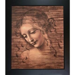 Leonardo Da Vinci 'Female Head' (La Scapigliata) Hand Painted Framed Canvas Art