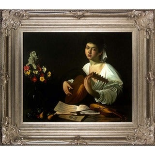 Carvaggio 'The Lute Player' Hand Painted Framed Canvas Art