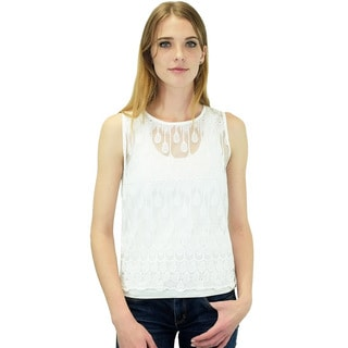 Relished Women's Contemporary JOA Ivory Water Droplets Embroidered Top