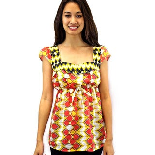 Relished Women's Contemporary Accra Babydoll Print Top