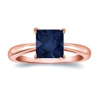 Auriya 14k Gold 2ct Princess Cut Blue Sapphire Solitaire Ring