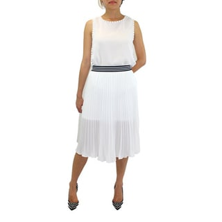Relished Women's Contemporary Lush Sporty Pleated White Midi Skirt