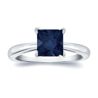Auriya 14k Gold 1 1/2ct Princess Cut Blue Sapphire Solitaire Ring