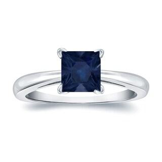 Auriya 14k Gold 1ct Princess Cut Blue Sapphire Solitaire Ring