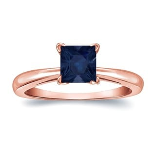 Auriya 14k Gold 1/2ct Princess Cut Blue Sapphire Solitaire Ring