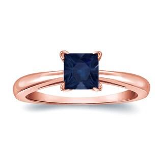 Auriya 14k Gold 1/4ct Princess Cut Blue Sapphire Solitaire Ring